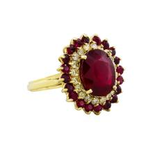 14KT Yellow Gold 6.87ctw Ruby and Diamond Ring