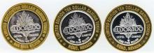 Lot of (3) Eldorado Reno $10 Casino Gaming Token .999 Fine Silver Limited Editio