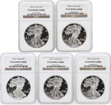 5 Coin Set 1996-2000 Silver Eagle Coins NGC PF69 Ultra Cameo
