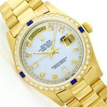 Mens Rolex 18K Yellow Gold Diamond And Sapphire President Wristwatch