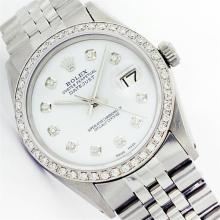 Mens Rolex Stainless Steel Mother Of Pearl Diamond Datejust Wristwatch