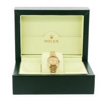 Ladies 18KT Gold Rolex Super President Style Diamond DateJust Watch