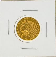 1909-D $5 Indian Head Gold Coin AU