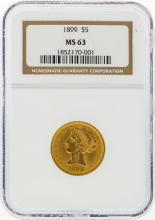 1899 $5 Liberty Head Gold Coin NGC Graded MS63