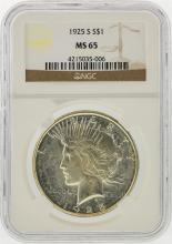 1925-S $1 Peace Silver Dollar Coin NGC Graded MS65