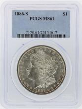 1886-S $1 Morgan Silver Dollar Coin PCGS Graded MS61