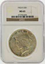 1923-S $1 Peace Silver Dollar Coin NGC Graded MS65