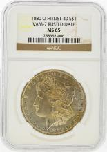 1880-O $1 Morgan Silver Dollar Hitlist-40 VAM-7 Rusted Date NGC MS65