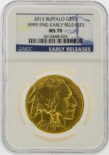 2012 $50 American Buffalo Gold Coin Early Release NGC MS70