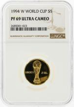 1994-W $5 World Cup Gold Coin NGC Graded PF69 Ultra Cameo