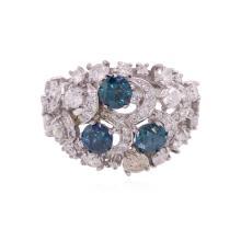 14KT White Gold 3.41ctw Fancy Blue Diamond Ring