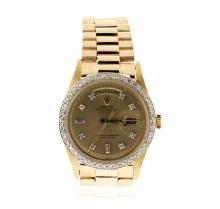 Men's 18KT Yellow Gold Rolex DayDate Watch Diamond Bezel