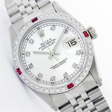 Mens Rolex Stainless Steel Diamond and Ruby Datejust Wristwatch
