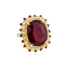 14KT Yellow Gold 14.29ctw Ruby and Diamond Ring