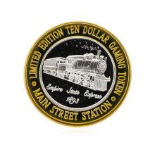 .999 Silver Main Street Station Las Vegas, NV $10 Casino Gaming Token Limited Ed