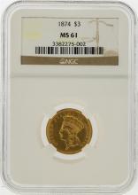 1874 $3 Indian Princess Head Gold Coin NGC MS61