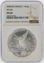 2000-MO Mexico 1 Onza Libertad Silver Coin NGC MS68