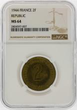1944 2 Franc WWII Allied Occupied France Coin NGC MS64