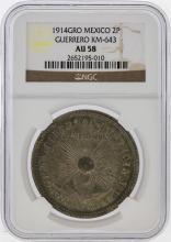 1914 Mexico Revolutionary 2 Pesos Guerrero Coin NGC AU58