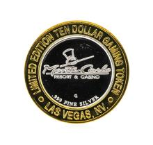 .999 Silver Monte Carlo Las Vegas, Nevada $10 Casino Gaming Token Limited Editio
