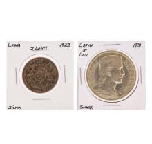 1923 2 Lahti Latvia & 1931 5 Latvia Silver Coins