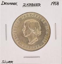 1958 2 Kroner Denmark Silver Coin