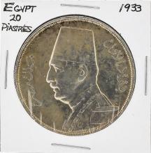 1933 Egypt 20 Piastres Silver Coin