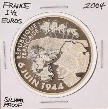 2004 1 1/2 Euros France Silver Proof Coin