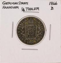 1866-B 1/6 Thaler German States Hannover Silver Coin
