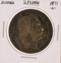 1871-A 2 Florin Austria Silver Coin