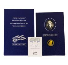 U.S. Mint Presidential $1 Coin Thomas Jefferson Historical Signature Set