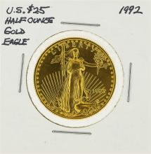 1992 $25 American Eagle 1/2 oz Gold Coin