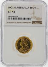 1901M 1 Sovereign Australia Gold Coin NGC AU58