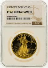 1988-W $50 American Gold Eagle Coin NGC Graded PF69 Ultra Cameo