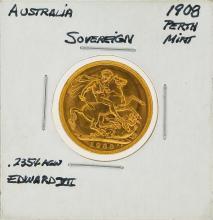 1908 Australia Perth Mint Sovereign Gold Coin