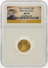 2012 $5 1/10 oz. American Eagle Gold Coin NGC MS70