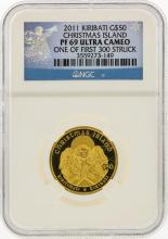 2011 Kiribati $50 Christmas Island Gold Coin NGC PF69 Ultra Cameo
