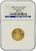 2008-W $10 American Gold Eagle Coin Early Release NGC MS70