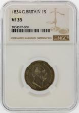 1834 1 Great Britain Shilling NGC Graded VF35