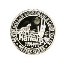 Harrahs Casino Hotel $7 Casino Gaming Token .999 Silver Limited Edition