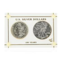 1897 $1 Morgan Silver Dollar & 1997 $1 American Silver Eagle Coin Set