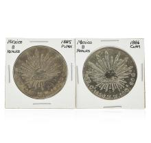 Set of (2) 1885-1886 8 Reales Mexico Silver Coins