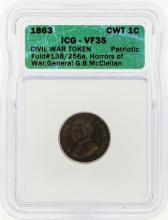 1863 Civil War Token General Horros of War ICG Graded VF35