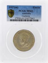 1927(m) Australia Canberra Silver Florin PCGS Graded MS61