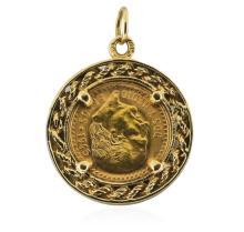 14K Pendant 1945 2 1/2 Peso Mexico Gold Coin