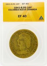 1841-B Colombia-Nueva Granada 16 Pesos Gold Coin ANACS EF40