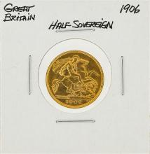 1906 Great Britain 1/2 Sovereign Gold Coin