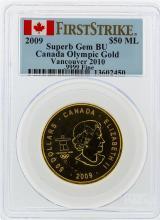 2009 $50 Maple Leaf Gold Coin Olympic PCGS Superb Gem BU