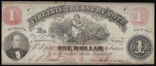 July 21, 1862 $1 Virginia Treasury Note Obsolete