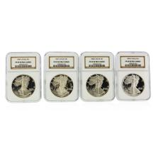 Set of (4) 1986-1989 $1 American Silver Eagle Coins NGC PF69 Ultra Cameo